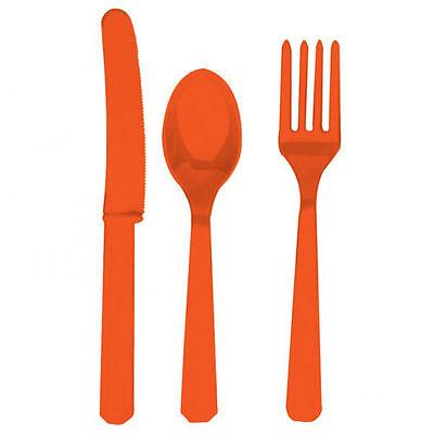 24 X Orange Kunststoff Besteckset Messer Gabeln Löffel Einweg Plastik Geschirr
