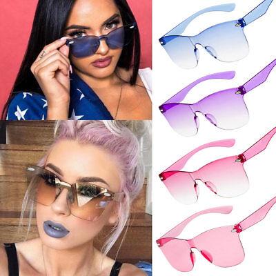 Ladies Frameless Lens Sunglasses Gradient Candy Colors Mirror UV400 Glasses (Gradient Mirror Sunglasses)