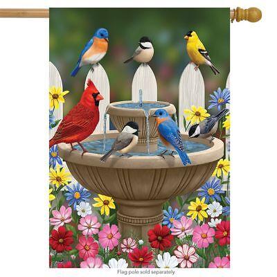 "Birdbath Gathering Spring House Flag Floral Birds 28"" x 40"""