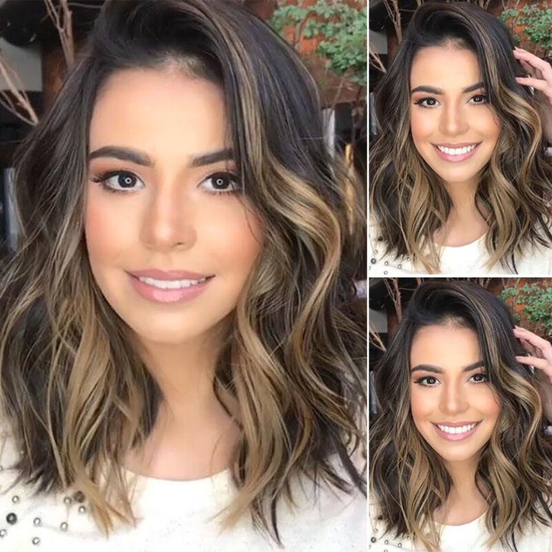 Womens Brown Short Straight Hair Wigs Ladies Natural Curly Wavy Cosplay Wig Uk Ebay