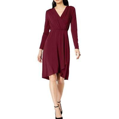 INC NEW Women's Solid Long Sleeve Surplice Neck Wrap Dress TEDO - Long Sleeve Surplice
