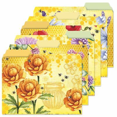 Yellow Floral Decorative Bee File Folders Set Of 24 6 Designs Documents Storage