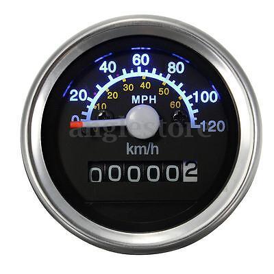 Universal Motorcycle Bike Speedometer Odometer Gauge KMH MPH LED Black US