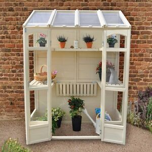 Timber Greenhouse Victorian Style Wall Planting Station Back Inc.Garden Patio