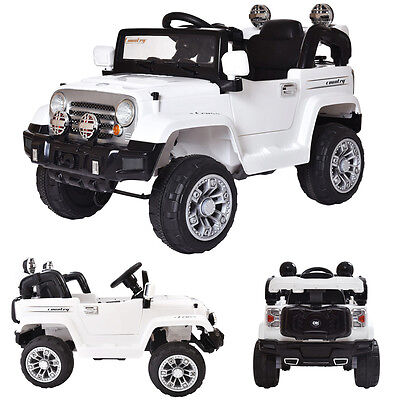 White 12V Jeep Style Kids Ride on Battery Powered Electric Car W/Remote Control
