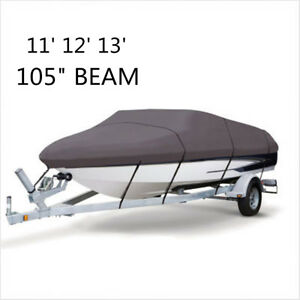 Waterproof Grey Heavy Duty Ski Boat Speedboat Extra Cover 11ft 12ft 13ft 210D US