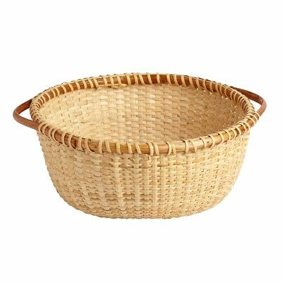 NANTUCKET BASKET WOODEN with HANDLES WICKER ROUND SERVING BOWL NEW for sale  Shipping to Canada