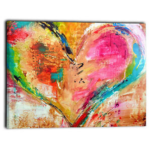 Large Love Heart Coloured Canvas Framed Prints Abstract Wall Art Panel 20