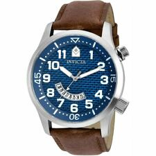 Invicta Men's Watch Specialty Quartz Blue Dial Brown Leather Strap 30820