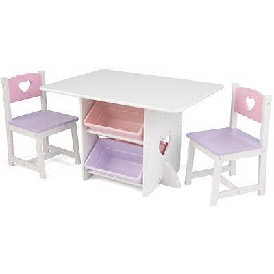 KidKraft 26913 Tisch mit 2 Stühlen Herzchen  Kindermöbel Holz