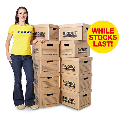 Pack Of 10 Cardboard Document Boxes Value Archive Storage Box Office BiGDUG