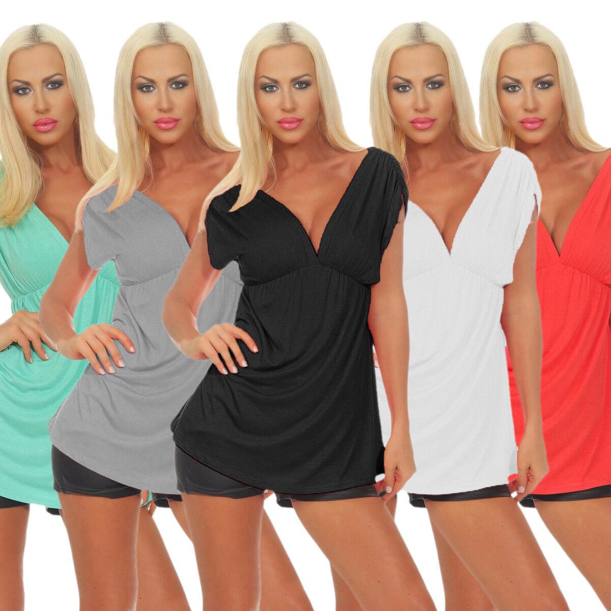 10667 Sexy Damen Shirt Bluse Tunika Kurzarm Langes Shirt V-Ausschnitt Longshirt