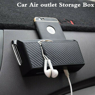 Universal 15x8CM Black Car Air Outlet Storage Box For Phone Cigarette Tickets