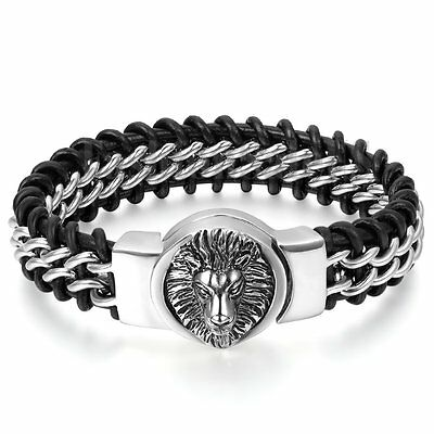 Men's Silver Stainless Steel Lion Genuine Leather Braided Bangle Bracelet Cuff