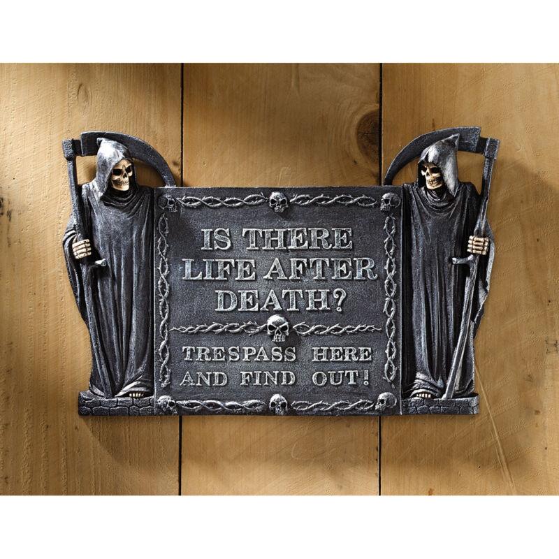 Grim Reaper Is There Life After Death? Trespassing Wall Door Plaque Sculpture