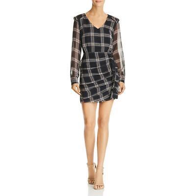 Heartloom Anthea Women's Plaid Print Ruffled V-Neck Mini Dress
