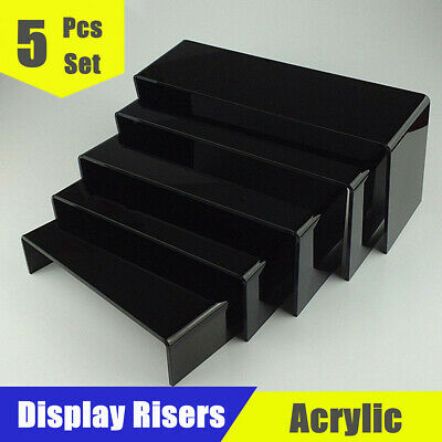 5pcs Set Acrylic Perspex Riser Display Stand Jewellery Shoes Counter Showcase
