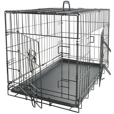 """48"""" Dog Crate 2 Door w/Divide w/Tray Folding Metal Pet Cage Kennel House"""