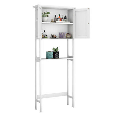 Over The Toilet Bathroom Storage Space Saver with Shelf Collect Cabinet White Collection Space Saver