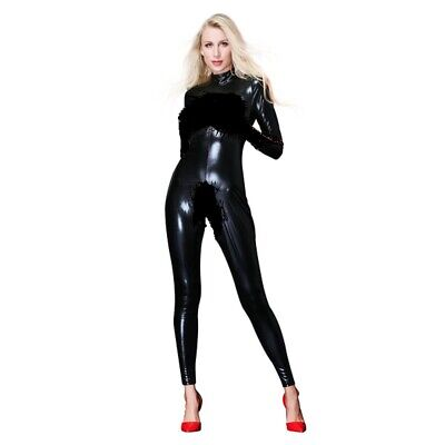 Long Sleeve Erotic Fetish Vinyl Catsuit with Boob Cups uk size 8  CLEARANCE ITEM Vinyl Long Sleeve Catsuit
