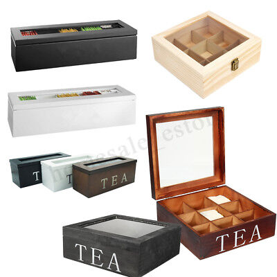 Compartments Wooden Tea Box Glass Top Lid Cover Container Teabags Storage Gift - Gift Containers