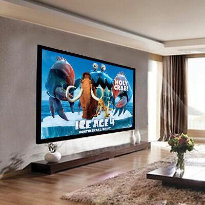 """92"""" Aluminum Fixed Frame 16:9 Projector Screen Velvet Matte White Home Theater"""