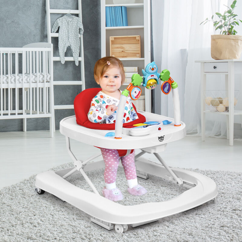 2-in-1 Foldable Baby Walker w/ Adjustable Heights & Detachable Tray Red