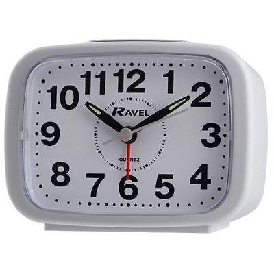 Ravel Quartz Silent Sweep Snooze Light, Bell/ Beep Alarm Clock White RC008.04