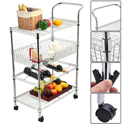 4-Tier Steel Rolling Kitchen Trolley Cart Island Wire Rack Basket Shelf Stand