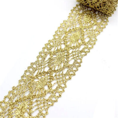1 Yard Golden Lace Fabric Wedding Dress Lace Applique Embroidery Lace Trim for sale  Shipping to Canada