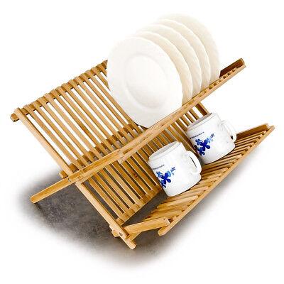 Geschirrständer Abtropfgestell Geschirr Abtropfgitter Abtropfständer Bambus Holz