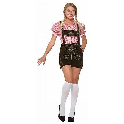 Girl Costume Shirt (Oktoberfest Girl Costume Adult Red Gingham Shirt German Maiden Fancy Dress )