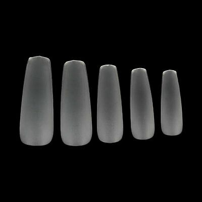 LONG BALLERINA COFFIN *CLEAR FROST* Full Cover Bendable Press On 24 Nail Tips