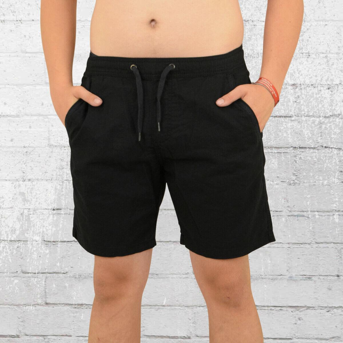 Indicode Leinen Mix Shorts Grant schwarz Kurze Leichte Herren Hose