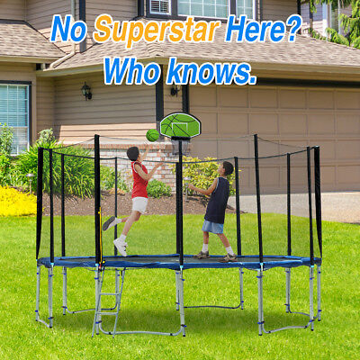 Exacme 8'-16' Trampoline with Green Basketball Hoop Best Christmas Gift for