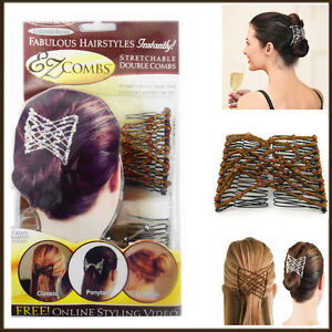 2Pc EZ Comb Ladies Party Hair Styling Magic Double Slide Stretchy Clip