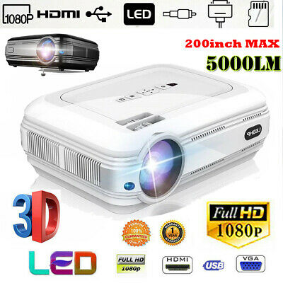 Full HD 1080P LED 3D LCD VGA HDMI TV 5000 Lumen Home Theater Projector Cinema US