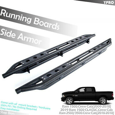For 2009-2018 Ram 1500 Crew Cab Off-Road Armor Running Boards Side Step Bars