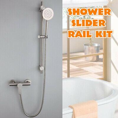 Stainless Steel Adjustable Shower Slider Riser Rail Bar Kit Head Hose Holder
