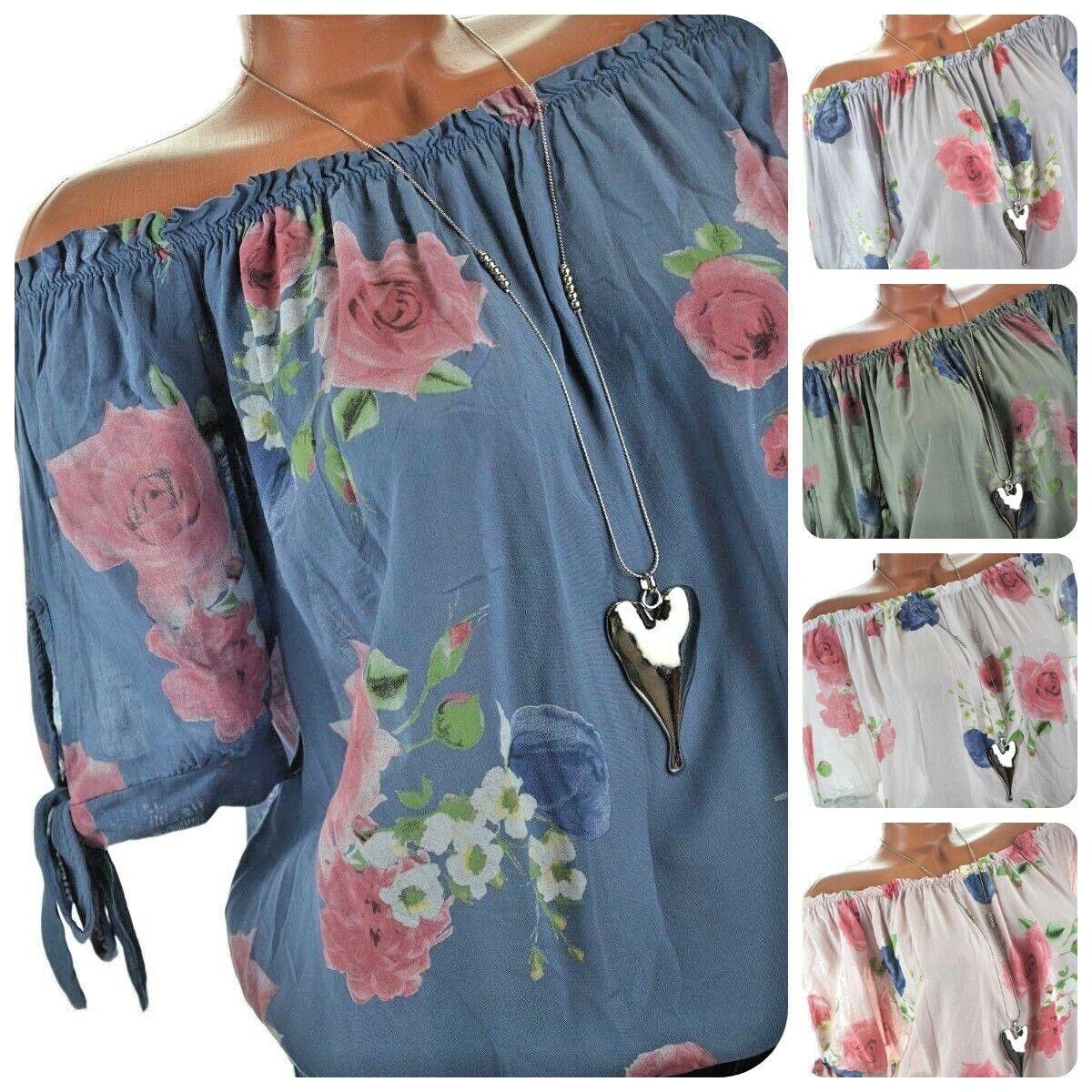 Carmen Bluse Damen Tunika mit Blumen Print 38 40 42 NEU Made in Italy