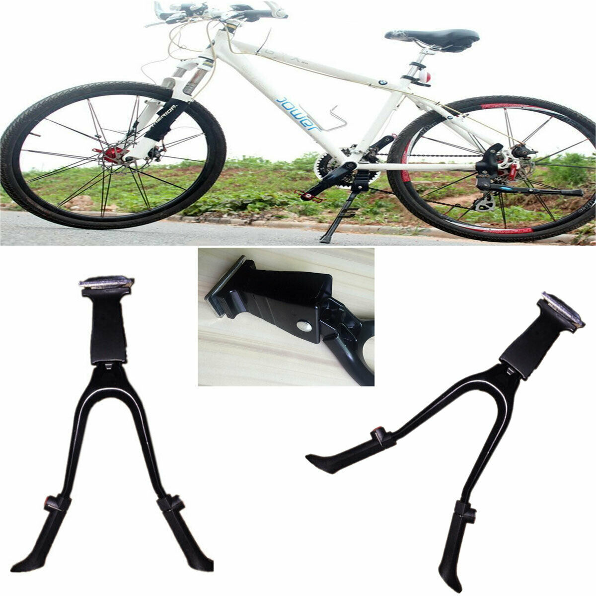 BICYCLE KICKSTAND CENTER MOUNTING BRACKET AND BOLT SILVER OR BLACK NEW CYCLING