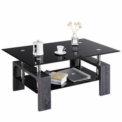 Rectangular Glass Coffee End Side Table w/ Shelf Living Room Furniture -