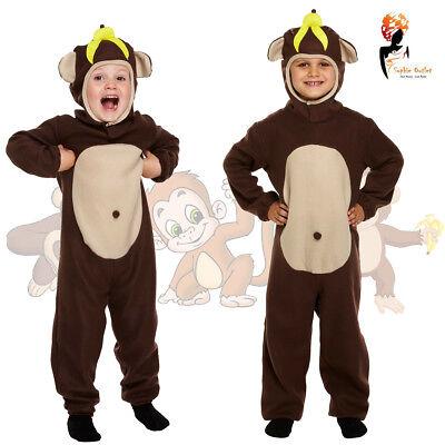 Monkey Fancy Dress Up Costume Outfit Animal Bodysuit Zoo Kids Boys Book Week  - Kids Monkey Costume