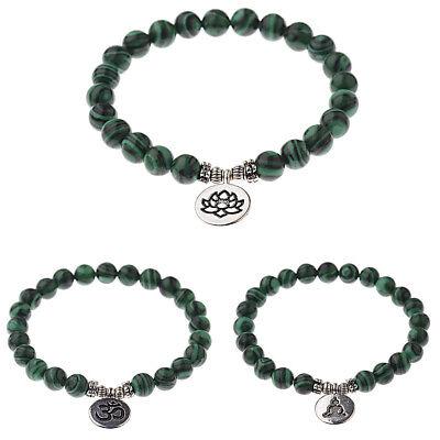 Fashion Men Women 8mm Natural Stone Malachite Strand Chakra Mala Charm Bracelets Malachite Strand Bracelet