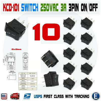 10pcs Kcd-101 250vac 3a Connectors 3pin On Off Rocker Mini Switch Micro Black