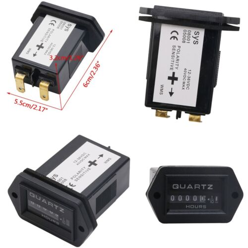 Black Rectangular Hour Mete 99999.9 Universal For Boat Truck Tractor 12-36V NEW