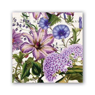 Michel Design Works 20 Triple-Ply Paper Cocktail Napkins Rhapsody Purple Floral (Purple Cocktail Napkins)