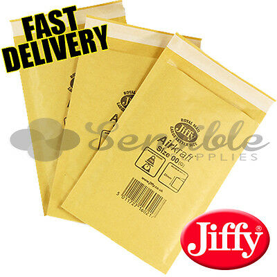 100 x JL00 JIFFY BRANDED PADDED BUBBLE ENVELOPES BAGS GOLD B/00 115x195mm