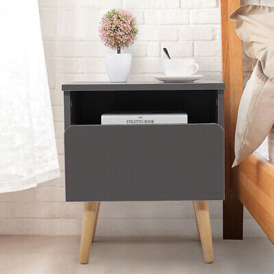 Gray Bedroom Night Stand Bedside End Table 2 Layer w/Drawer Storage Shelf Silver