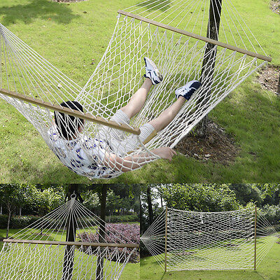 "78""x 59""Comfortable White Cotton Rope Swing Double Hammock Hanging 2 Person"